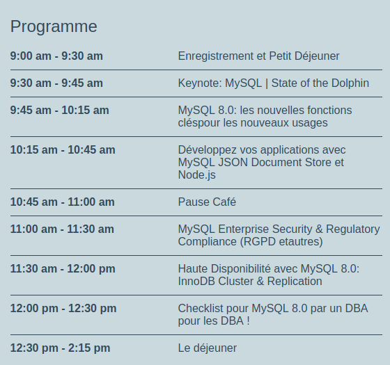 Agenda Oracle MySQL Day Paris